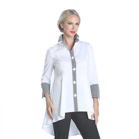 IC Collection Fitted White High-Low Blouse with Contrast Trim - 1357B-WT