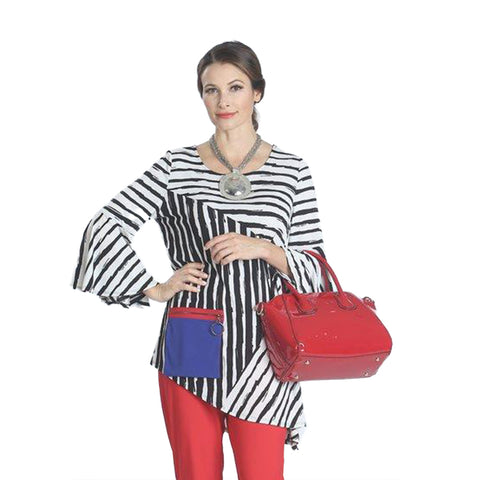 IC Collection Striped Knit Tunic with Patch Zipper Pocket - IC-1134T