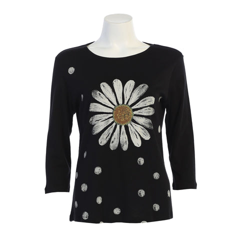 "Jess & Jane ""Happy Days"" Daisy Print Top - 14-1361-BLK"