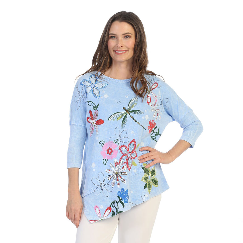 "Jess & Jane ""Good Times"" Mineral Washed Cotton Tunic Top in Ice Blue - M41-1228 - Sizes S & M"