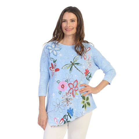 "Jess & Jane ""Good Times"" Mineral Washed Cotton Tunic Top in Ice Blue - M41-1228"
