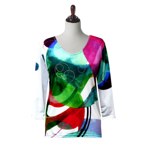 "Valentina Signa ""Modern Abstract"" V-Neck Top in Multi - 19540-3"