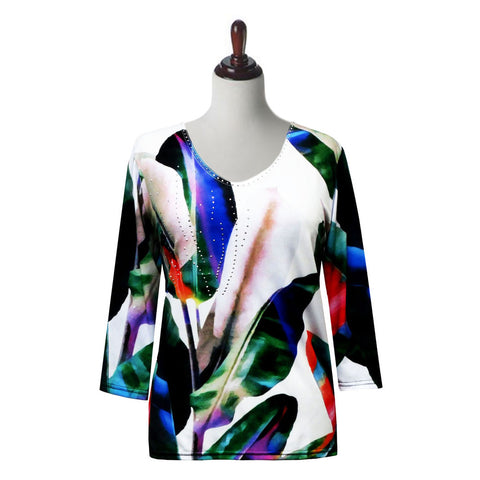 "Valentina Signa ""Fronds"" Tropical Print V-Neck Top in Multi/White - 19541-1-WT"