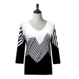 "Valentina Signa ""Waving"" Stripes Print V-Neck Top in Black & White -19661-4"