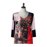"Valentina Signa ""Tiger Art"" V-Neck Top in Multi - 17328"