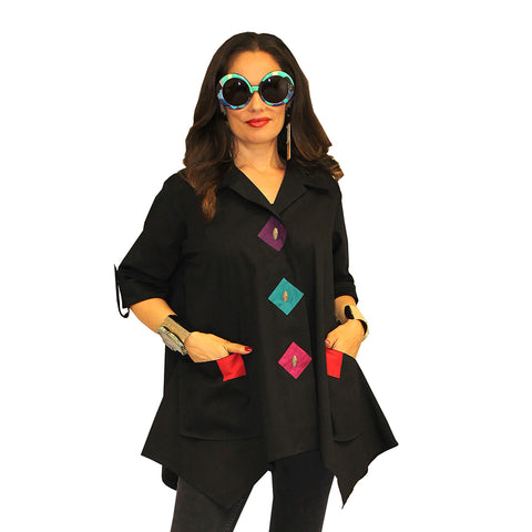 Dilemma Fashions Big Shirt with Contrast Trim in Black/Multi   - PS 1062-MULT