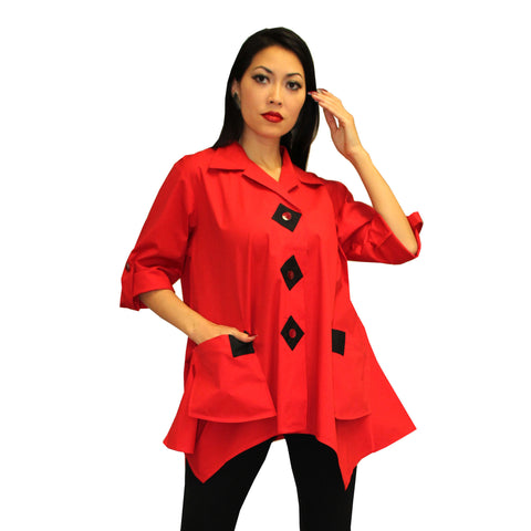 Dilemma Fashions Big Shirt with Contrast Trim in Red/Black -PS-1062-RD