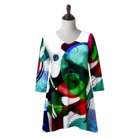 "Valentina Signa ""Modernism"" Abstract Print V-Neck Tunic in Multi/White - 19540-3-TU"