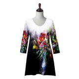 "Valentina Signa ""Floral Poem"" Print V-Neck Tunic in Multicolor  - 19706"