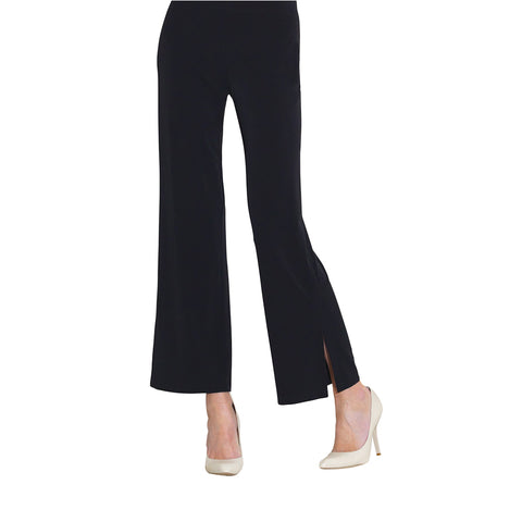 Clara Sunwoo Straight Leg Flared Hem Ankle Pant in Black - PT28-BLK