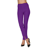 Mesmerize Pants with Front Ankle Slits and Front Zipper in Purple - MA21-PUR