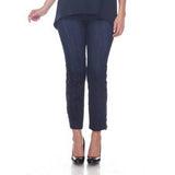 "Mesmerize ""Paris"" Lace Trim Ankle Pant in Dark Blue Denim - Paris-DNM"