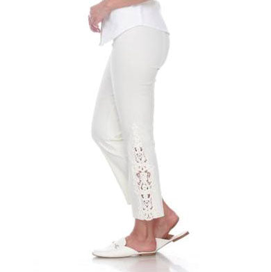 "Mesmerize ""Paris"" Lace Trim Ankle Pant in Ivory - Paris-IV"