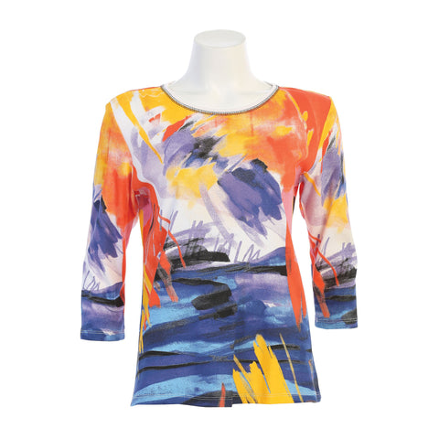 "Jess & Jane ""Monet"" Impressionist Art Print Top in Multi - 14-1471WT"