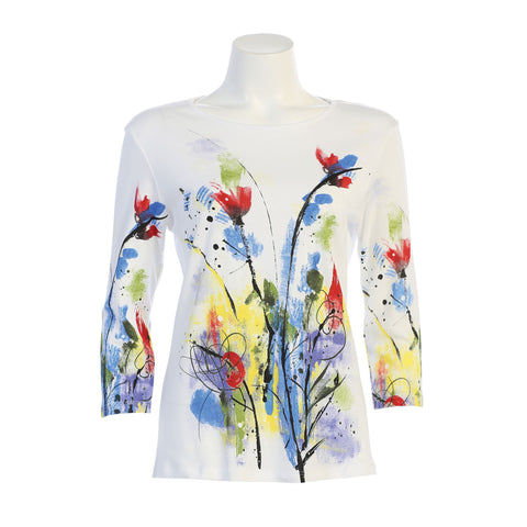 "Jess & Jane ""Two Beauty"" Floral Print Cotton Top in Multi/White - 14-1353WT"