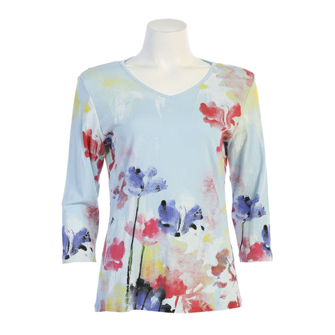 "Jess & Jane ""Watercolor"" Abstract Froral Print V-Neck Top in Blue/Multi - 15-1350-BL"