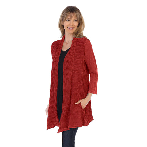 Jess & Jane Wave Contrast Open Front Cardigan in Red - M57-RED