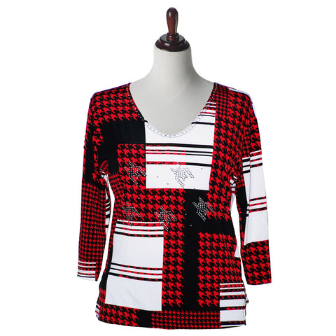"Valentina Signa Top ""Checkmate""  Red and Multi - 12152"