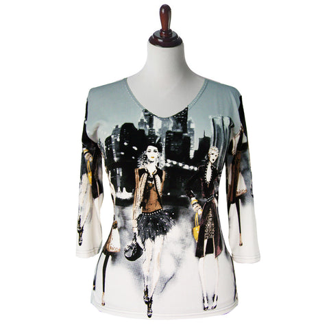 "Valentina Signa Top ""Life in the City""  White and Multi - 12983"