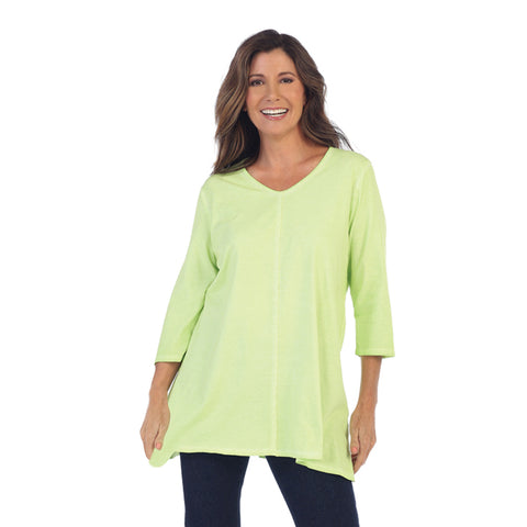 Focus Fashion Lightweight Knit Tunic Top in Lime - SC-115-LME - Size M Only
