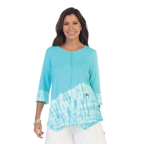 Focus Tie-Dye Colorblock Tunic in Turquoise/White - SC-116-TRQ - Size S Only