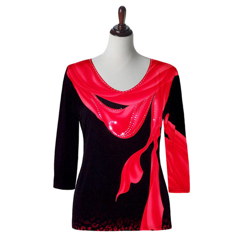 "Valentina Signa ""Breeze"" V-Neck Top in Red - 16453-RD"
