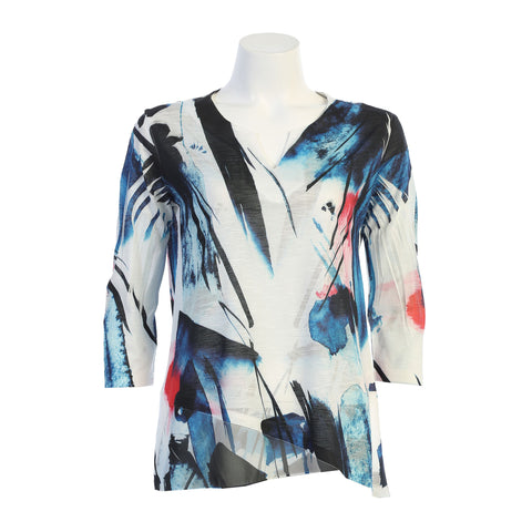 "Jess & Jane ""Silhouette"" Abstract Print Chiffon Border Tunic Top in Multi - 61-1412"