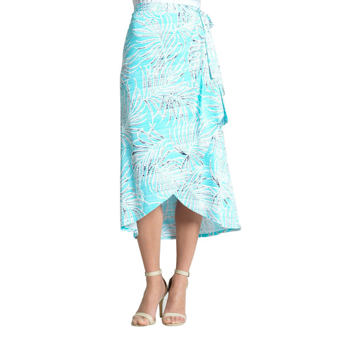 Clara Sunwoo Tropical Print Pull On Wrap-Front Midi Skirt - SK55-Turq
