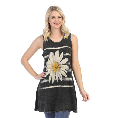 "Jess & Jane ""Aria"" Flower Print Mineral Washed Sleeveless Tunic - M32-1453"