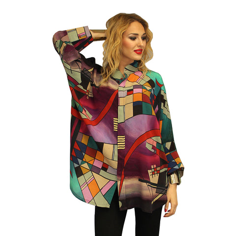 Dilemma Kandinsky Inspired Pure Silk Blouse - SNBSC-212-KAND