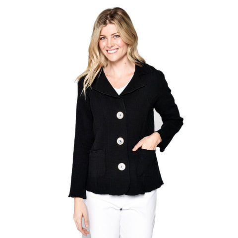 Focus Fashion Textured 3-Button Front Jacket in Black - ST-401-BLK