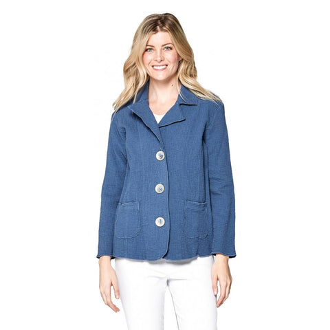 Focus Fashion Textured 3-Button Front Jacket in Slate Blue - ST-401-BL
