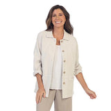 Focus Fashion Button Front Waffle Jacket in Oatmeal - SW205-OAT
