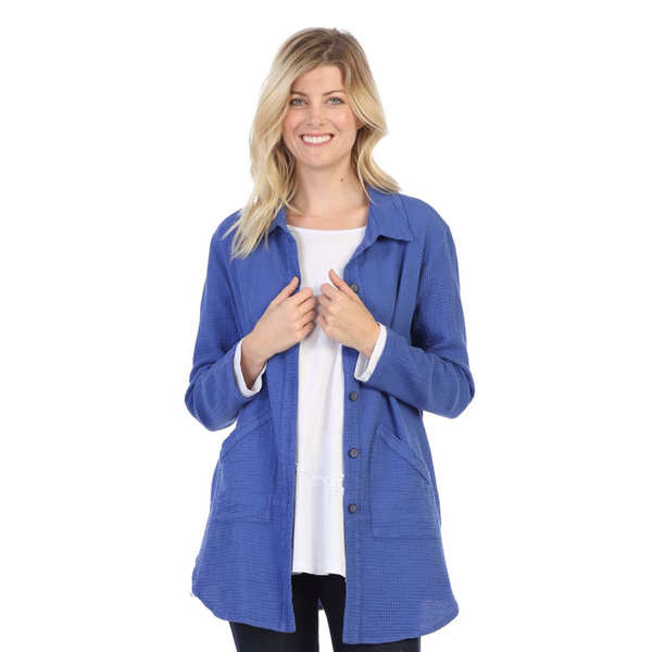 Focus Fashion Button Front Waffle Shirt/Jacket in Blue Grape - LW-110-VIO