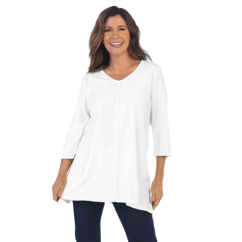 Focus Fashion Lightweight Soft Knit Tunic Top in White - SC-115-WHT