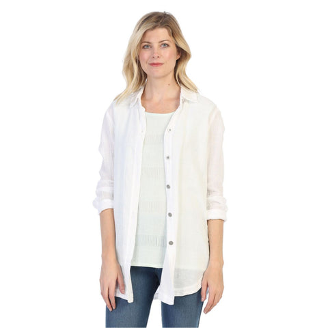 Focus Cotton Dobby Button-Down Sheer Shirt in White - GD-101-WT