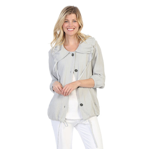 Focus Button Front Mini Waffle Jacket in Silver - CD-209-SLV - Size L Only