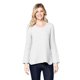 Focus Waffle Long Sleeve Cotton Top in Silver - C691-SLV - Sizes S & L Only