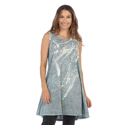 "Jess & Jane ""Imagination"" Abstract Print Mineral Washed Sleeveless Tunic  - M32-1174"