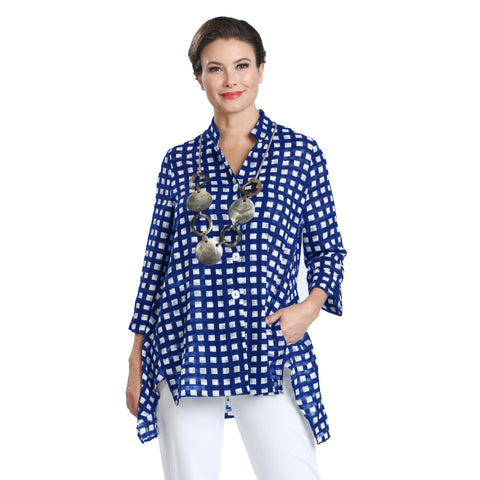 IC Collection Checkered High-Low Blouse in Blue & White - 2364B-BLU