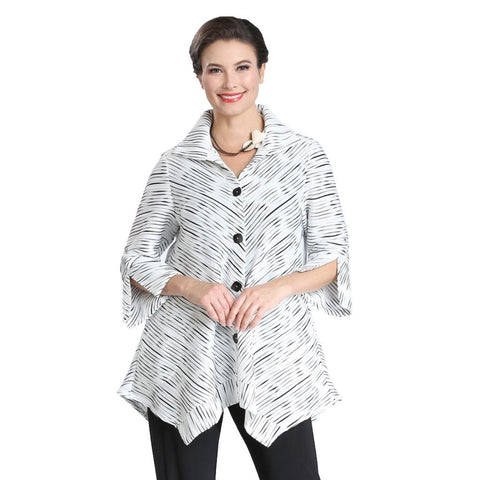 IC Collection Textured-Stripe Button Front Shirt in Black/White - 2361J