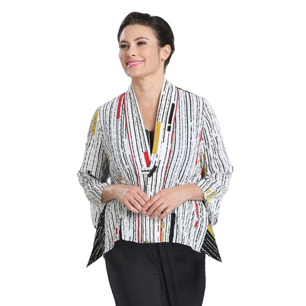 IC Collection Mixed-Stripe High-Low Jacket in Multi - 2302J-WHT