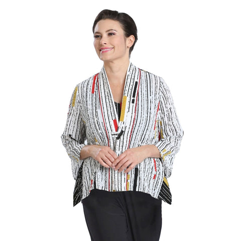 IC Collection Mixed Stripe V-Neck Jacket in Multi - 2302J-WHT