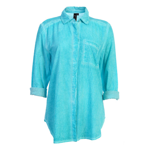 Focus Long Sleeve Button-Front Faded Shirt in Jade - V310-JADE