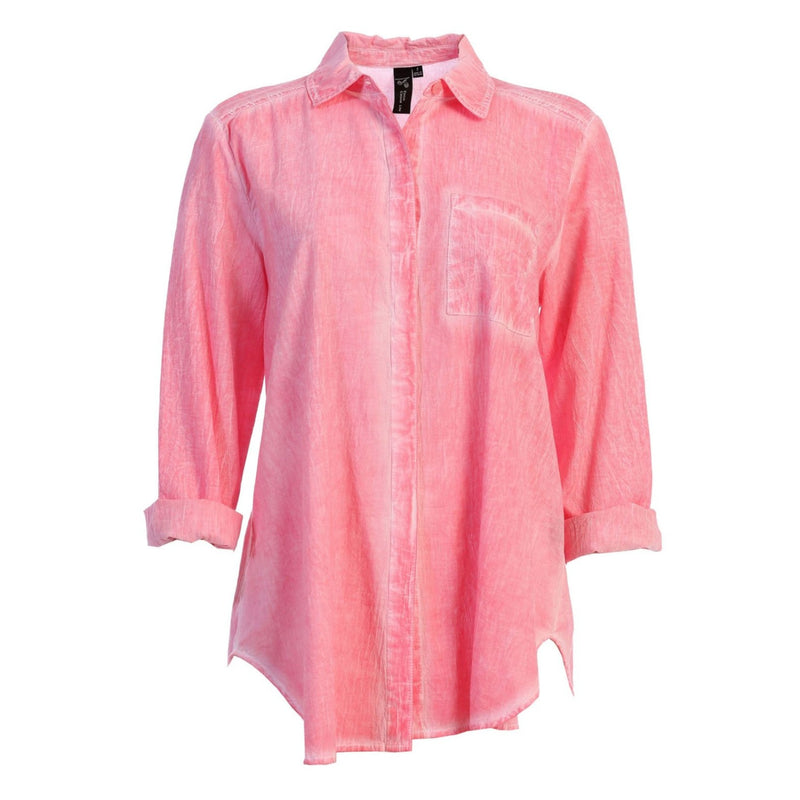 Focus Long Sleeve Button-Front Faded Shirt in Coral - V310-COR