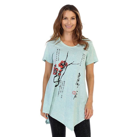 "Jess & Jane ""Cherry Blossom"" Mineral Washed Cotton Tunic Top in Mint - M4-1182"