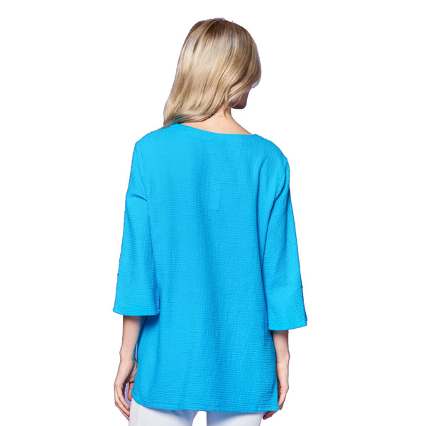 Focus Fashion Waffle-Knit V-Neck Tunic in Turquoise - LW-102-TQ