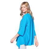 Focus Fashion V-Neck Bell Sleeve Tunic in Turquoise - LW-102-TQ