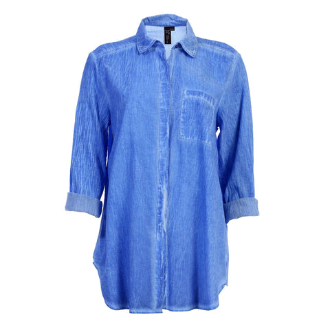 Focus Long Sleeve Button-Front Faded Shirt in Royal - V310-ROY