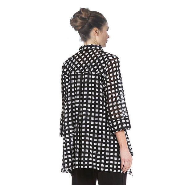 IC Collection Checkered High-Low Blouse in Black & White - 2364B
